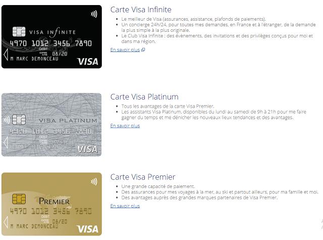 carte visa infinite carte visa platinum carte visa premier