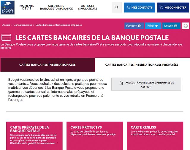 cartes bancaires internationales prépayées banque postale